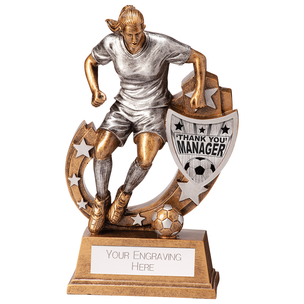 Female Galaxy Thank You Manager Football Trophies