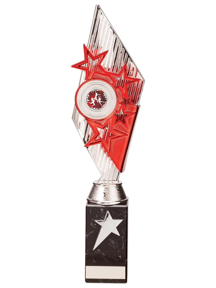 Silver and Red Pizzazz Star Trophies