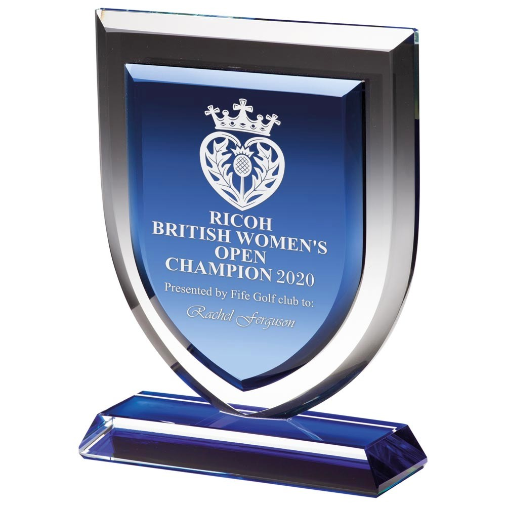 Engraved Delta Blue Crystal Trophies
